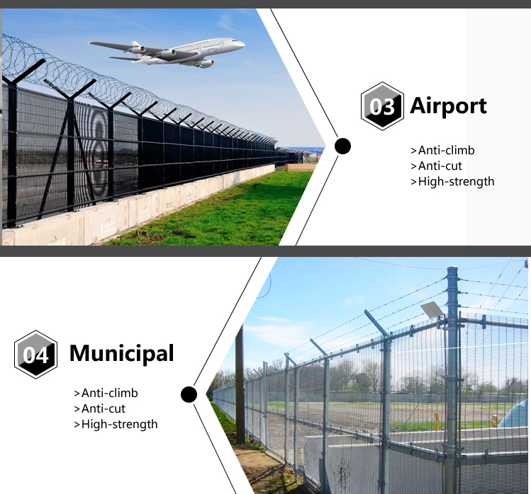 Galvanized or Powder Coated Anti Climb 358 High Security Fence