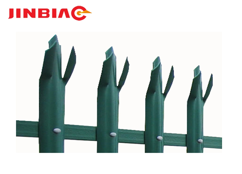 Metal pipe wrought iron steel white polyester powder coated D type W type head security palisade fencing jinbiao
