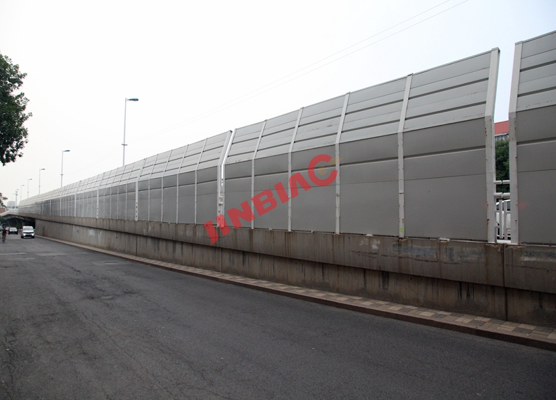 China JINBIAO Sound insulation Angled noise barrier manufacturer