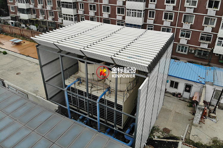 Residential cooling tower equipment noise sound barrier project